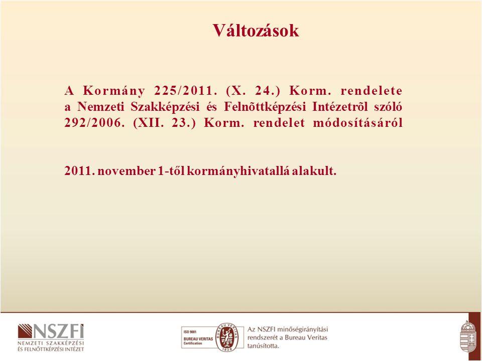 Változások A Kormány 225/2011. (X. 24.) Korm. rendelete