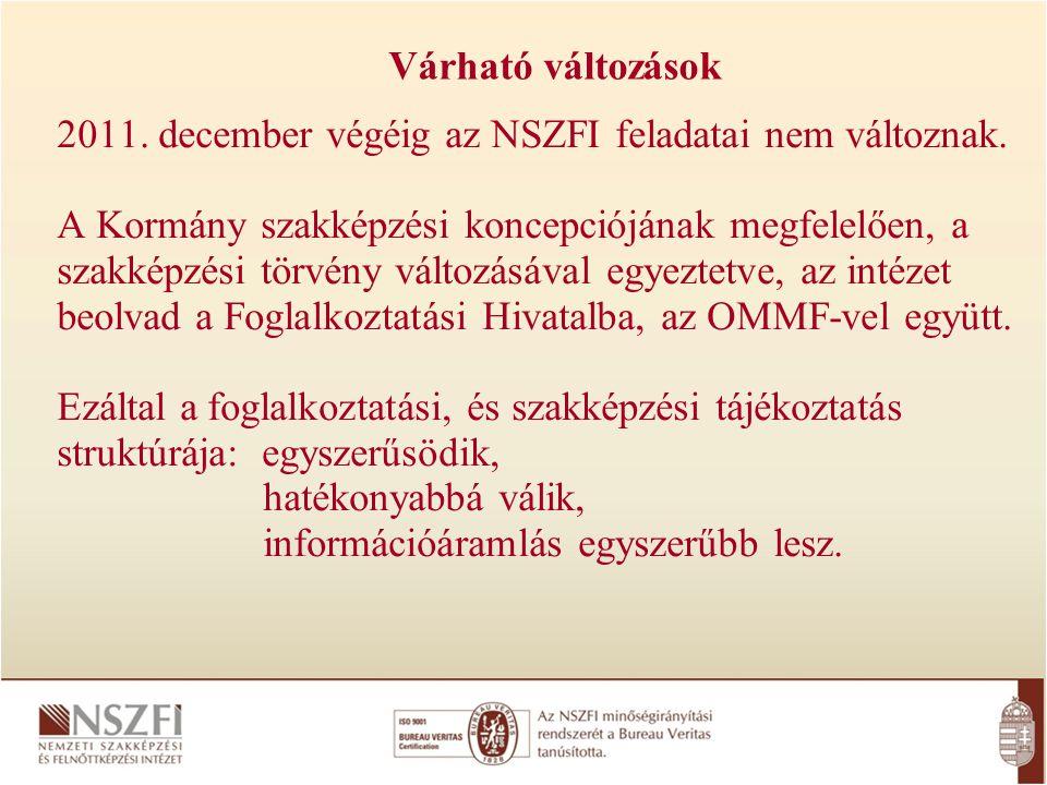 Várható változások 2011. december végéig az NSZFI feladatai nem változnak.