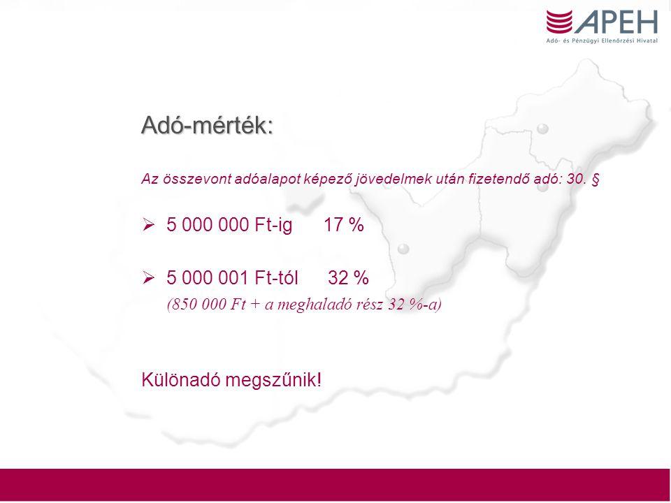 Adó-mérték: 5 000 000 Ft-ig 17 % 5 000 001 Ft-tól 32 %