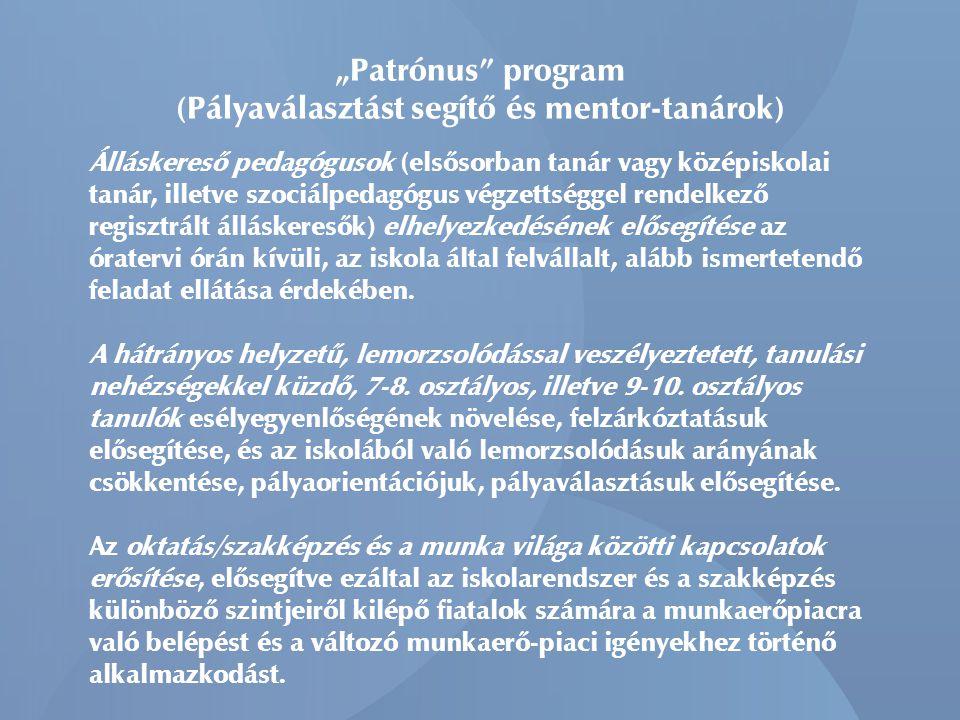 """""""Patrónus program (Pályaválasztást segítő és mentor-tanárok)"""