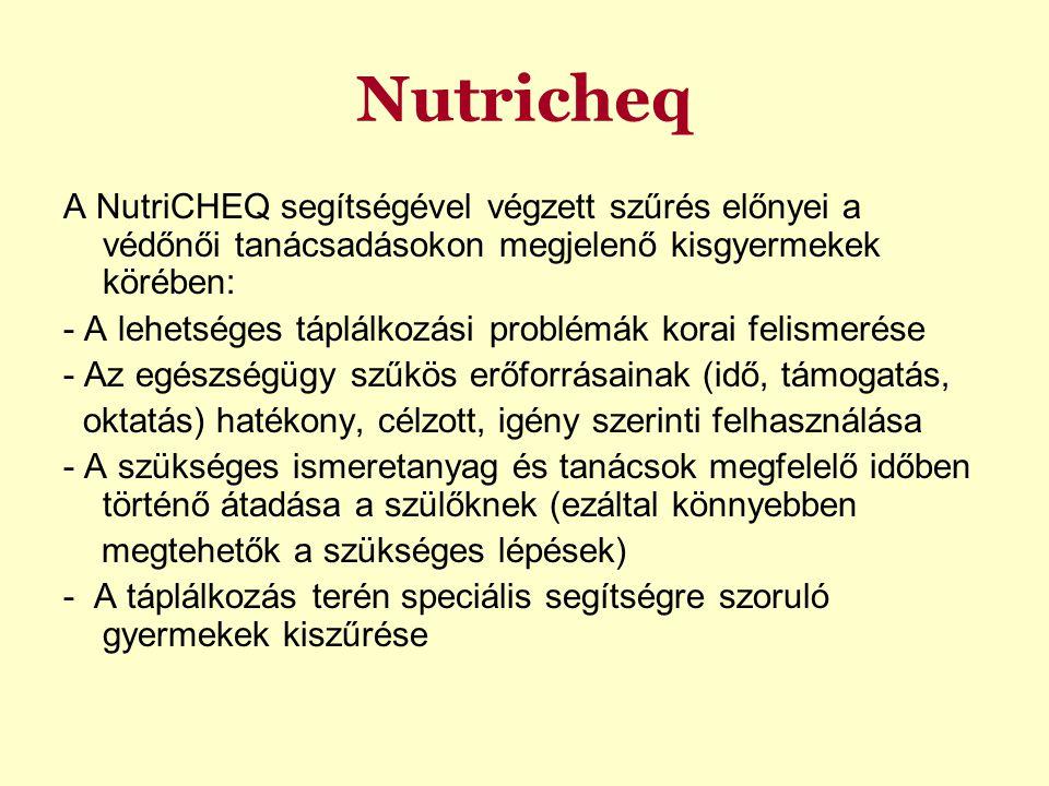 Nutricheq A NutriCHEQ segítségével végzett szűrés előnyei a védőnői tanácsadásokon megjelenő kisgyermekek körében: