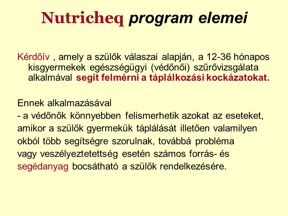 Nutricheq program elemei