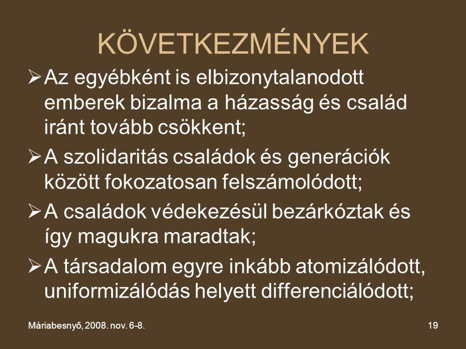 XV. CSALÁDKONGRESSZUS Máriabesnyő, 2008.nov. 6-8. KÖVETKEZMÉNYEK.