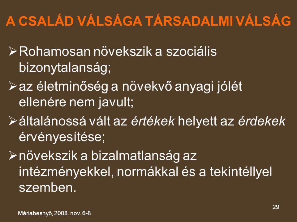 A CSALÁD VÁLSÁGA TÁRSADALMI VÁLSÁG