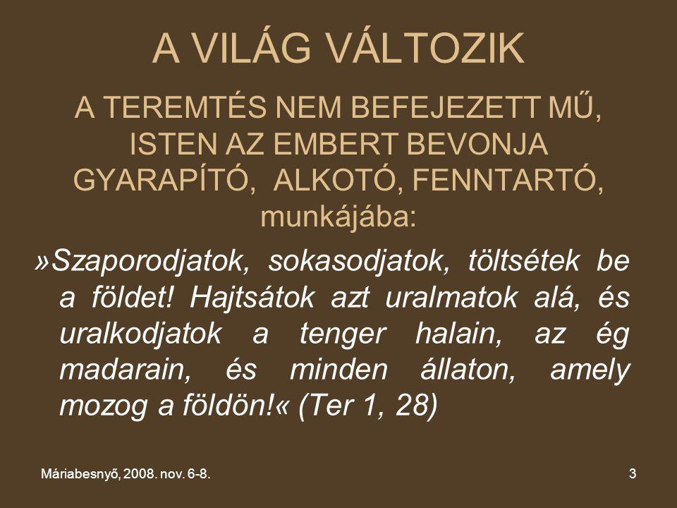 XV. CSALÁDKONGRESSZUS Máriabesnyő, 2008.nov. 6-8. A VILÁG VÁLTOZIK.