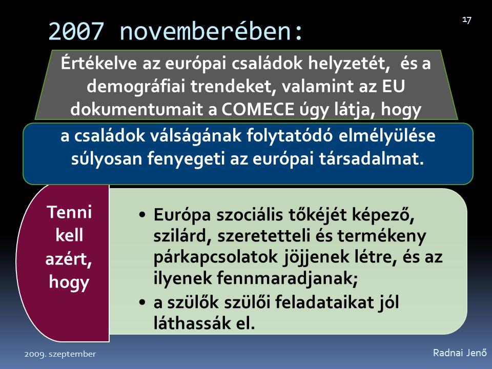 2007 novemberében: Értékelve az európai családok helyzetét, és a demográfiai trendeket, valamint az EU dokumentumait a COMECE úgy látja, hogy.