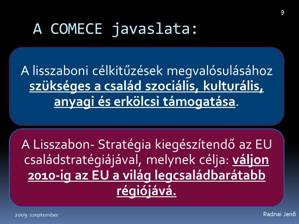 A COMECE javaslata: Radnai Jenő 2009. szeptember