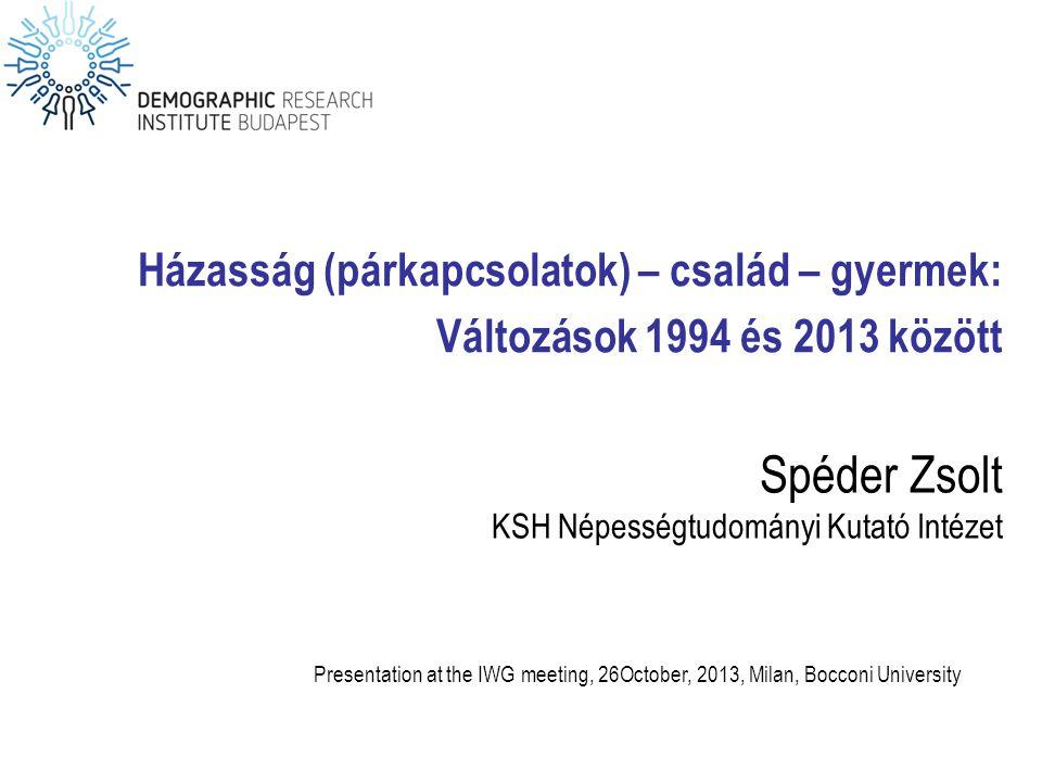 Spéder Zsolt KSH Népességtudományi Kutató Intézet