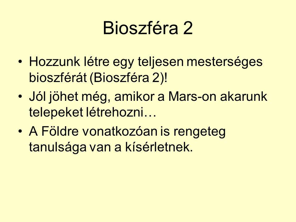 Bioszféra 2 Hozzunk létre egy teljesen mesterséges bioszférát (Bioszféra 2)! Jól jöhet még, amikor a Mars-on akarunk telepeket létrehozni…