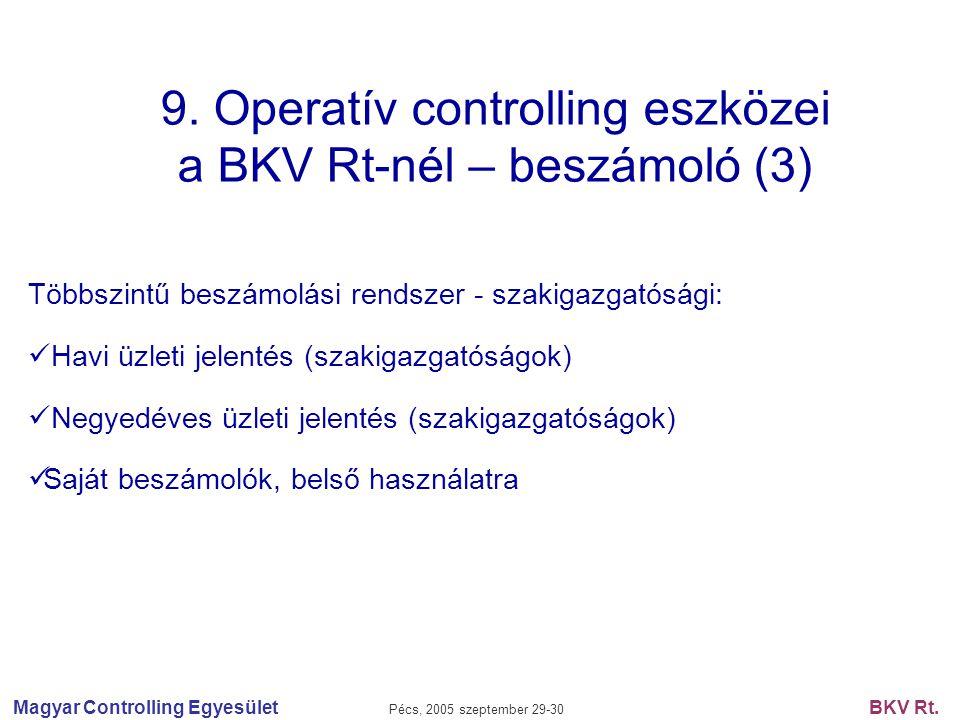 9. Operatív controlling eszközei a BKV Rt-nél – beszámoló (3)
