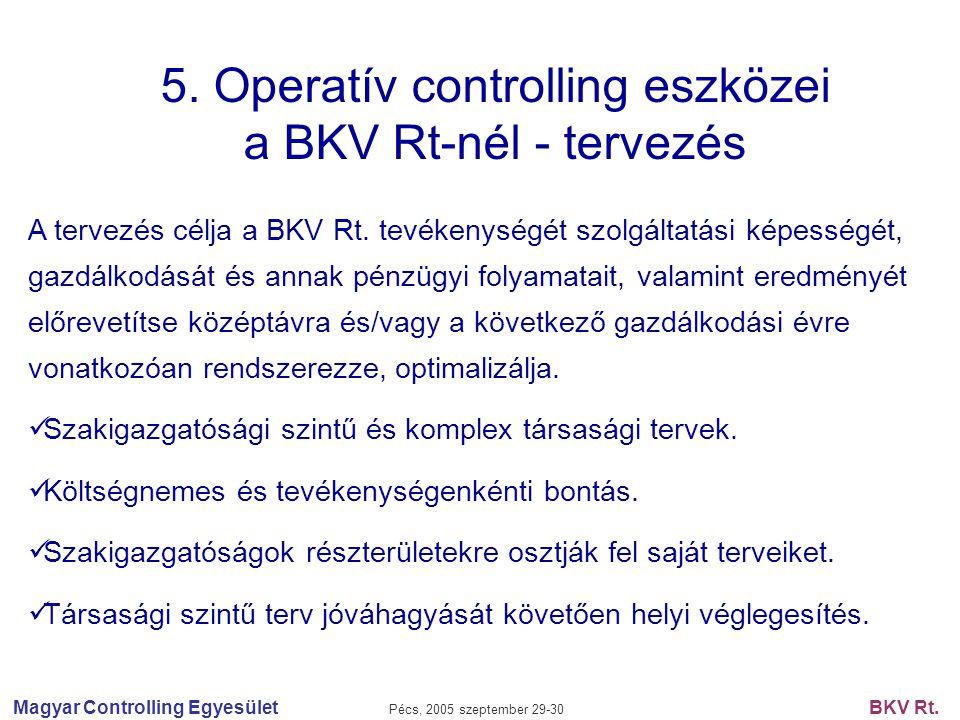 5. Operatív controlling eszközei