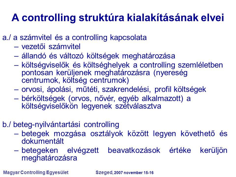 A controlling struktúra kialakításának elvei