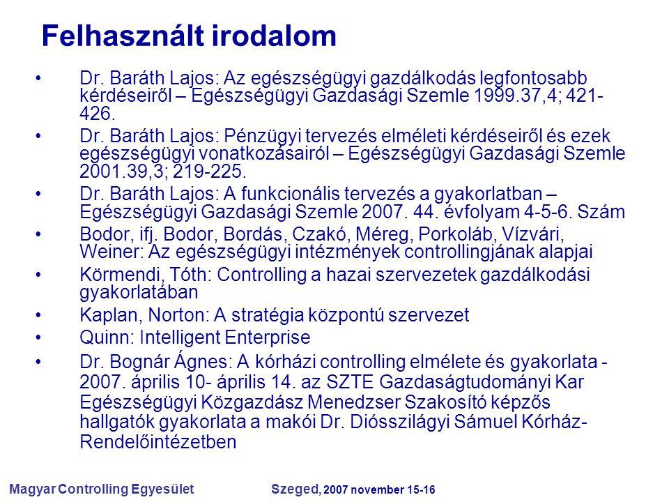 Felhasznált irodalom Dr. Baráth Lajos: Az egészségügyi gazdálkodás legfontosabb kérdéseiről – Egészségügyi Gazdasági Szemle 1999.37,4; 421-426.