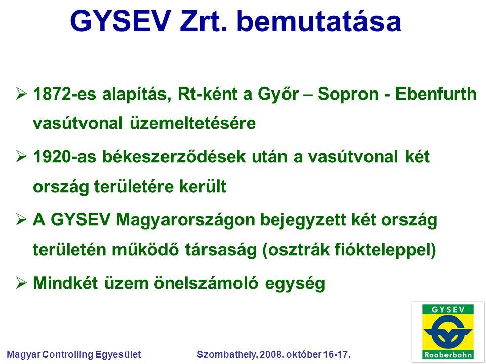 GYSEV Zrt. bemutatása 1872-es alapítás, Rt-ként a Győr – Sopron - Ebenfurth vasútvonal üzemeltetésére.