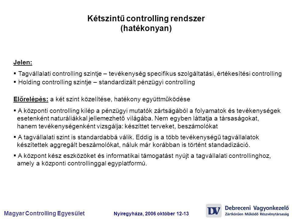 Kétszintű controlling rendszer (hatékonyan)