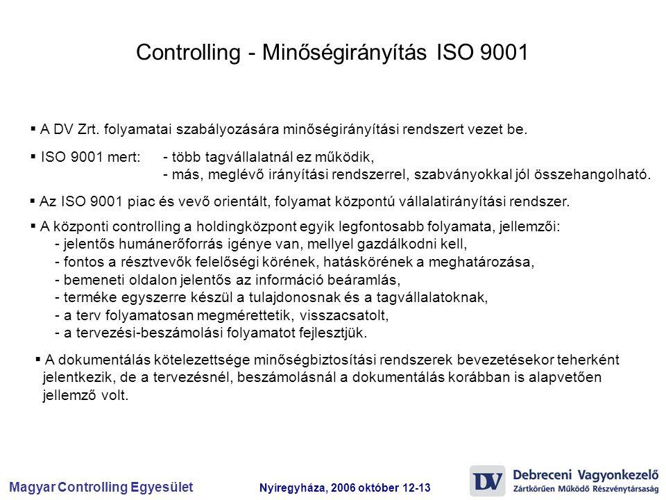 Controlling - Minőségirányítás ISO 9001