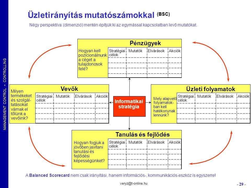Üzletirányítás mutatószámokkal (BSC) Informatikai stratégia
