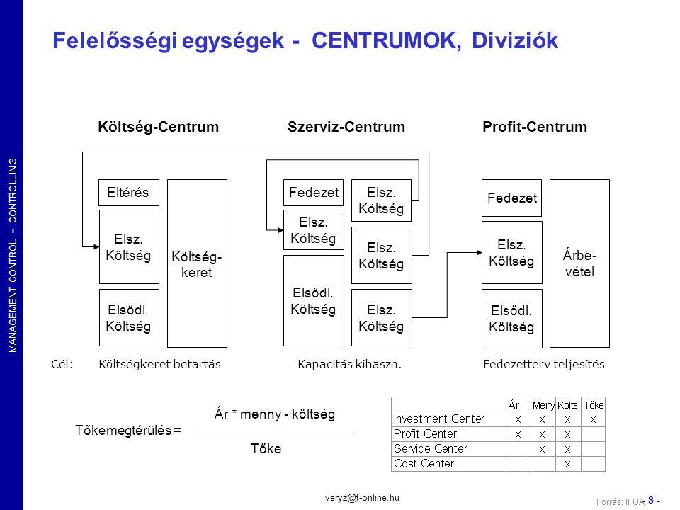 Felelősségi egységek - CENTRUMOK, Diviziók