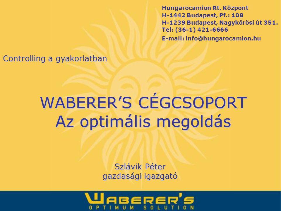WABERER'S CÉGCSOPORT Az optimális megoldás