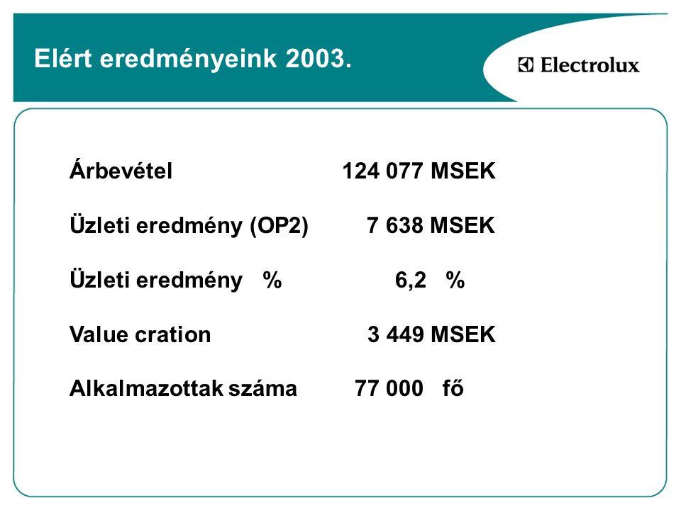 Elért eredményeink 2003. Árbevétel 124 077 MSEK