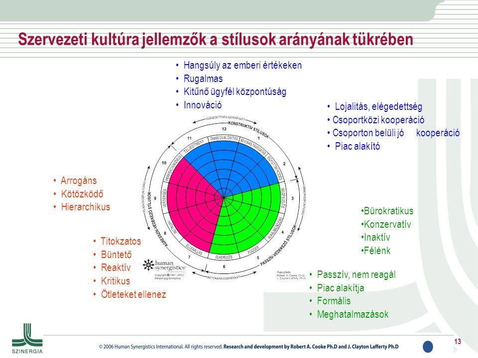 Szervezeti kultúra jellemzők a stílusok arányának tükrében