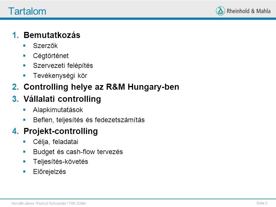 Tartalom Bemutatkozás Controlling helye az R&M Hungary-ben