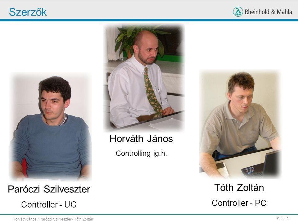 Szerzők Horváth János Tóth Zoltán Paróczi Szilveszter Controller - PC