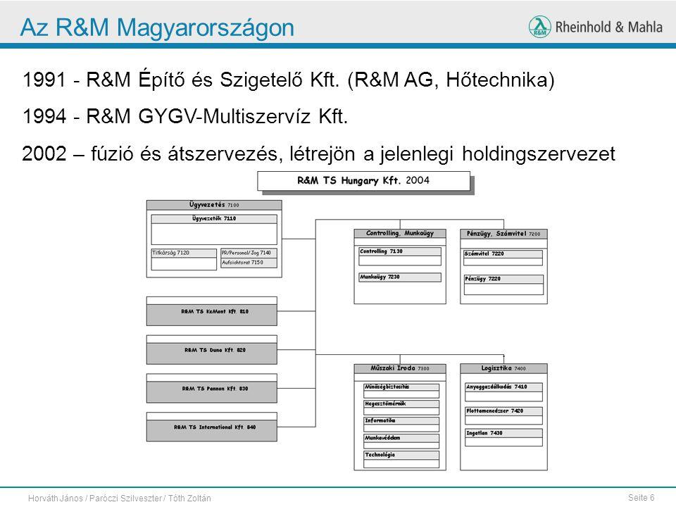 Az R&M Magyarországon 1991 - R&M Építő és Szigetelő Kft. (R&M AG, Hőtechnika) 1994 - R&M GYGV-Multiszervíz Kft.