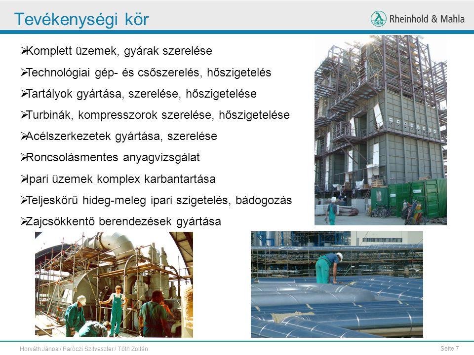 Tevékenységi kör Komplett üzemek, gyárak szerelése