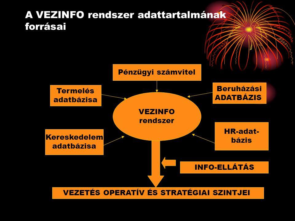 A VEZINFO rendszer adattartalmának forrásai