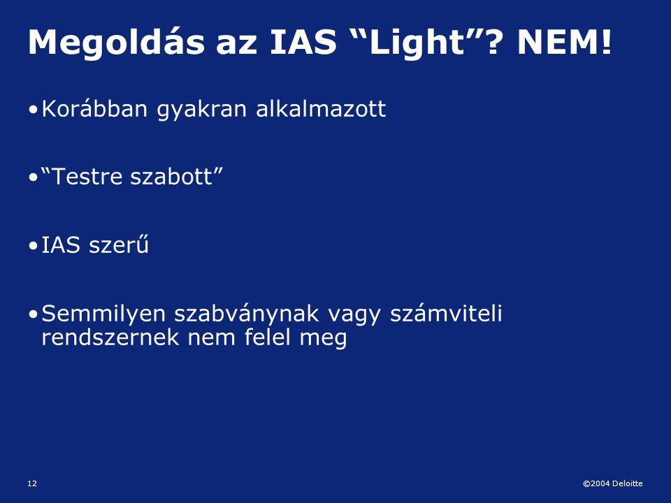 Megoldás az IAS Light NEM!