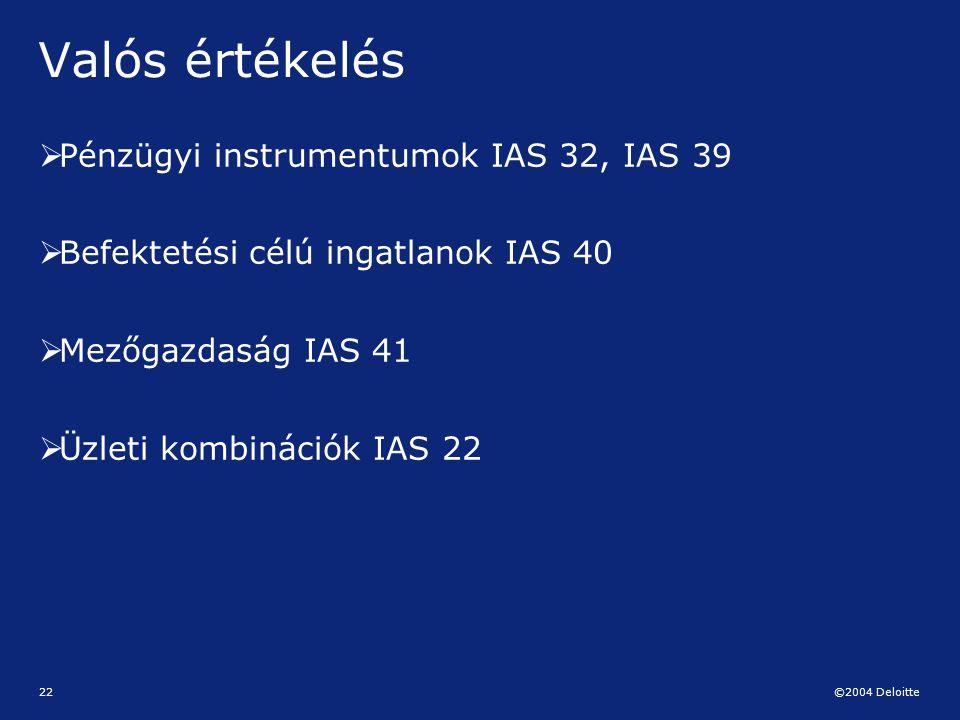 Valós értékelés Pénzügyi instrumentumok IAS 32, IAS 39