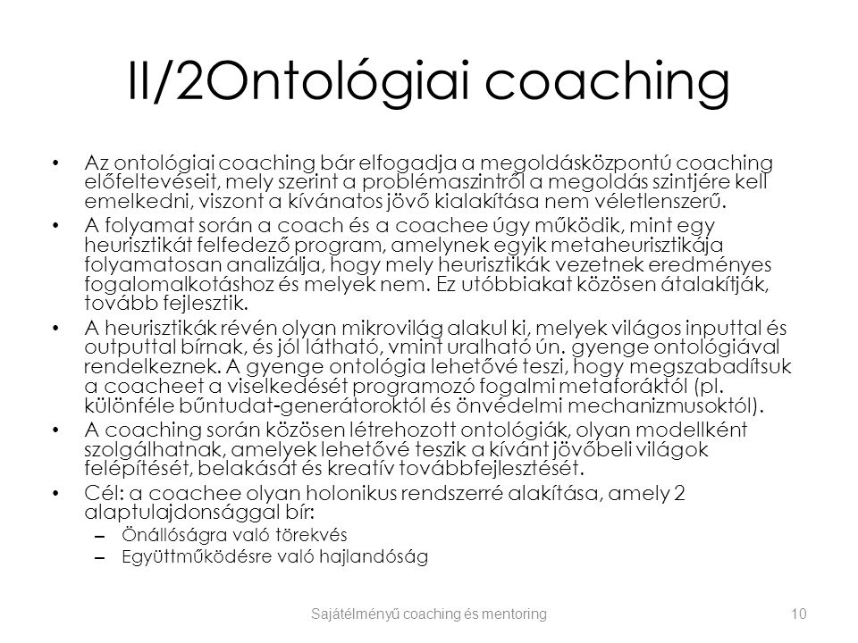 II/2Ontológiai coaching
