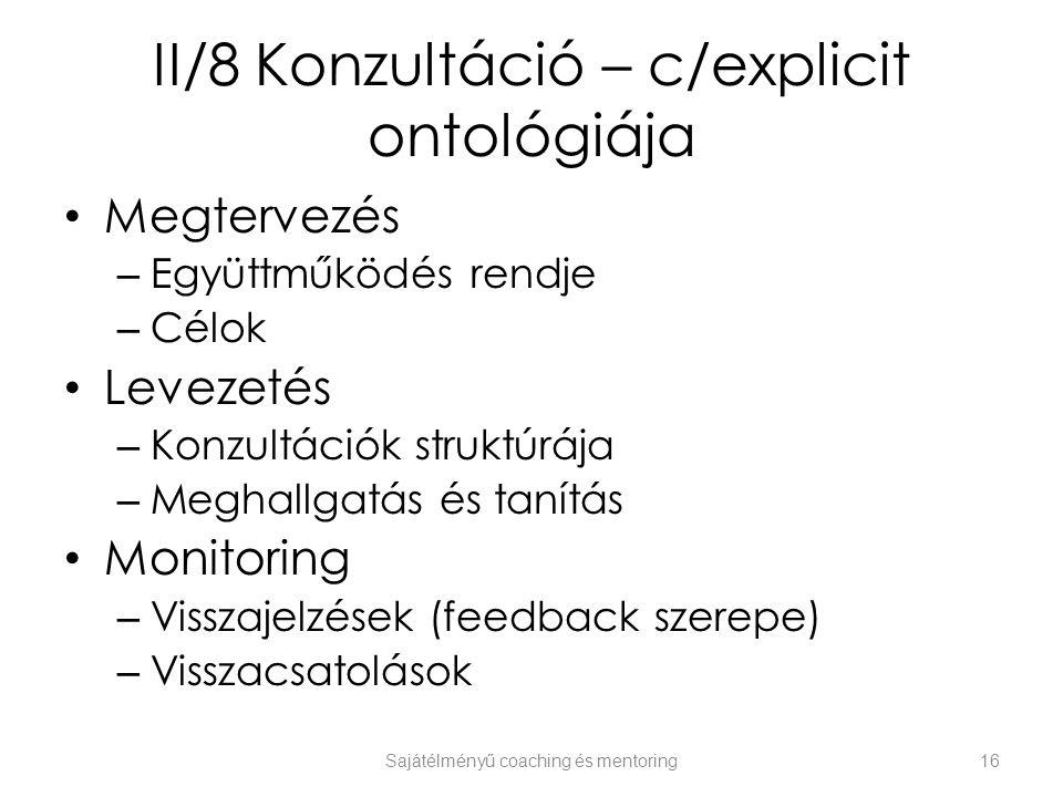 II/8 Konzultáció – c/explicit ontológiája