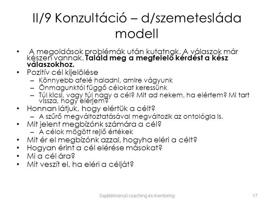II/9 Konzultáció – d/szemetesláda modell