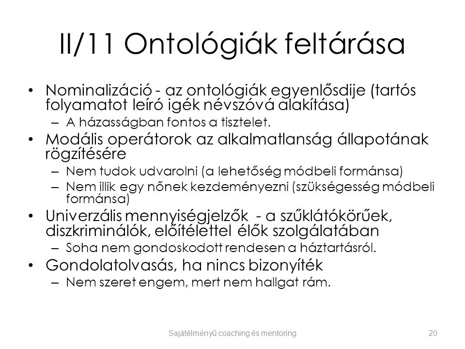 II/11 Ontológiák feltárása