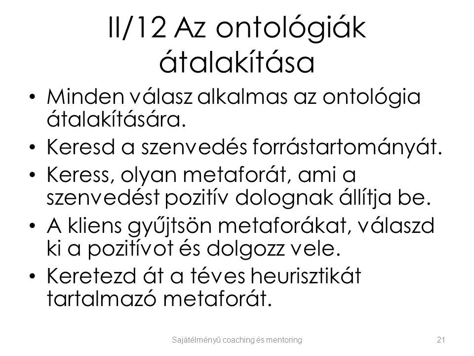 II/12 Az ontológiák átalakítása