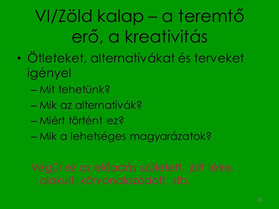 VI/Zöld kalap – a teremtő erő, a kreativitás