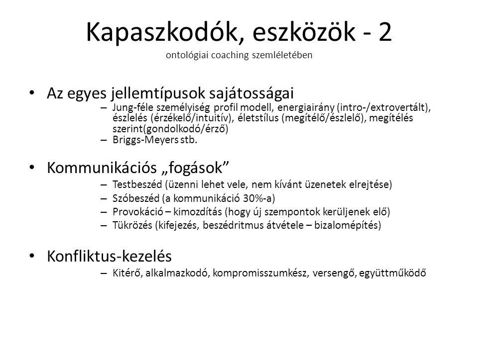 Kapaszkodók, eszközök - 2 ontológiai coaching szemléletében