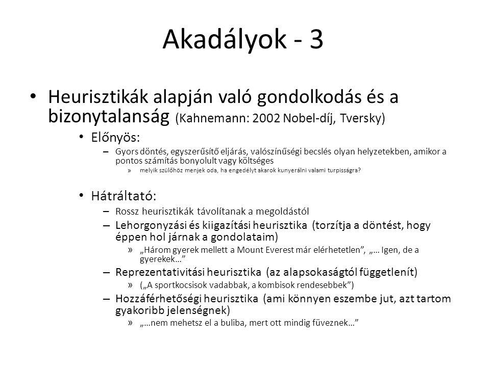 Akadályok - 3 Heurisztikák alapján való gondolkodás és a bizonytalanság (Kahnemann: 2002 Nobel-díj, Tversky)
