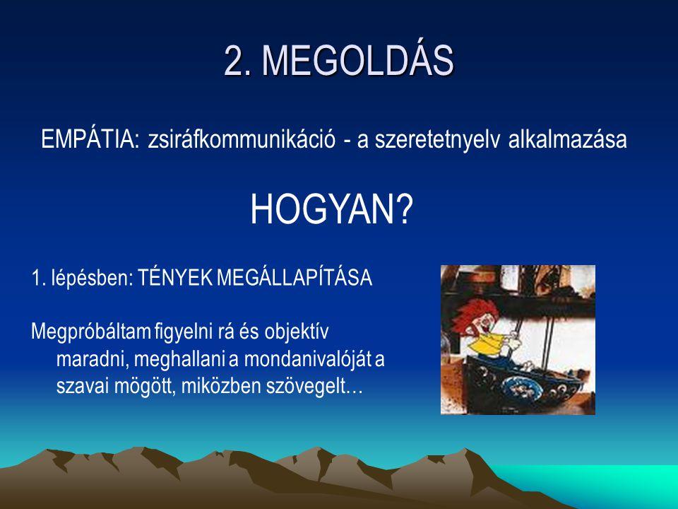 2. MEGOLDÁS EMPÁTIA: zsiráfkommunikáció - a szeretetnyelv alkalmazása. HOGYAN 1. lépésben: TÉNYEK MEGÁLLAPÍTÁSA.
