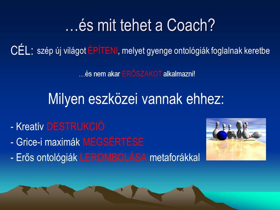 …és mit tehet a Coach Milyen eszközei vannak ehhez: CÉL:
