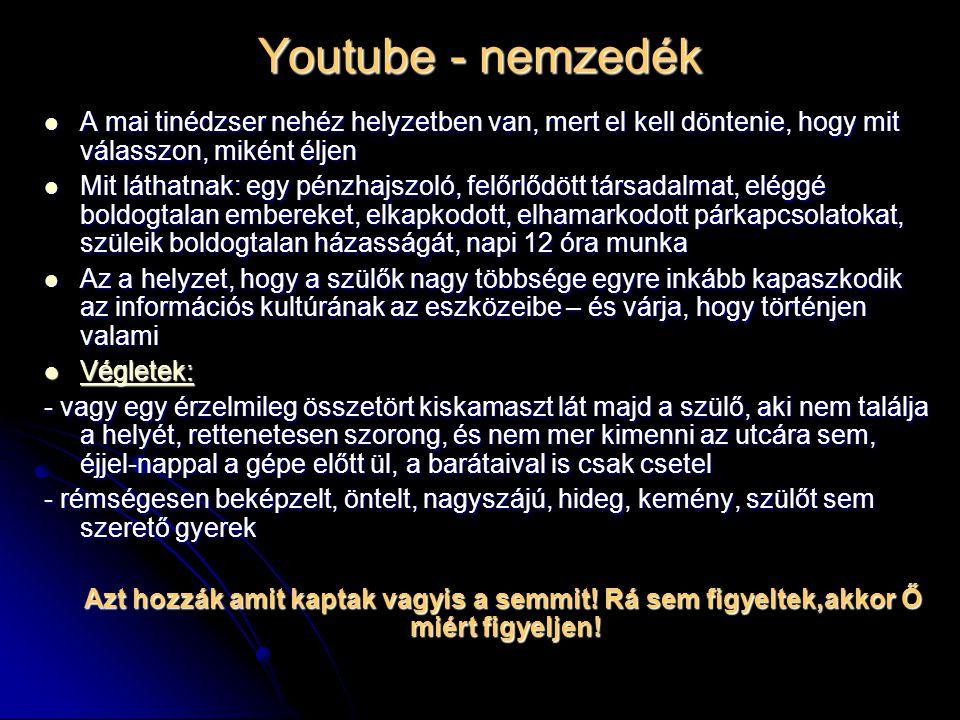 Youtube - nemzedék A mai tinédzser nehéz helyzetben van, mert el kell döntenie, hogy mit válasszon, miként éljen.
