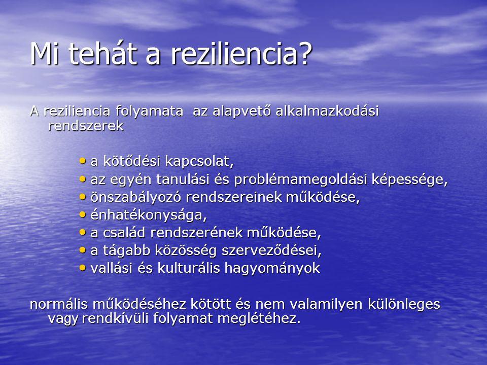 Mi tehát a reziliencia A reziliencia folyamata az alapvető alkalmazkodási rendszerek. a kötődési kapcsolat,
