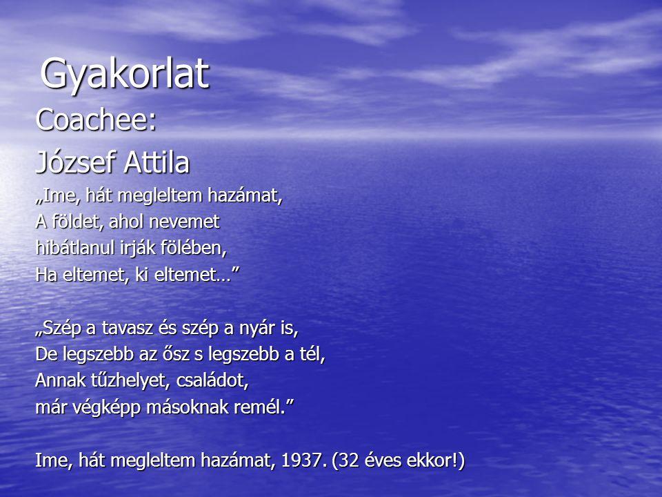 """Gyakorlat Coachee: József Attila """"Ime, hát megleltem hazámat,"""