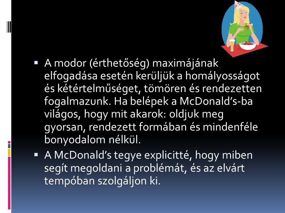 A modor (érthetőség) maximájának elfogadása esetén kerüljük a homályosságot és kétértelműséget, tömören és rendezetten fogalmazunk. Ha belépek a McDonald's-ba világos, hogy mit akarok: oldjuk meg gyorsan, rendezett formában és mindenféle bonyodalom nélkül.