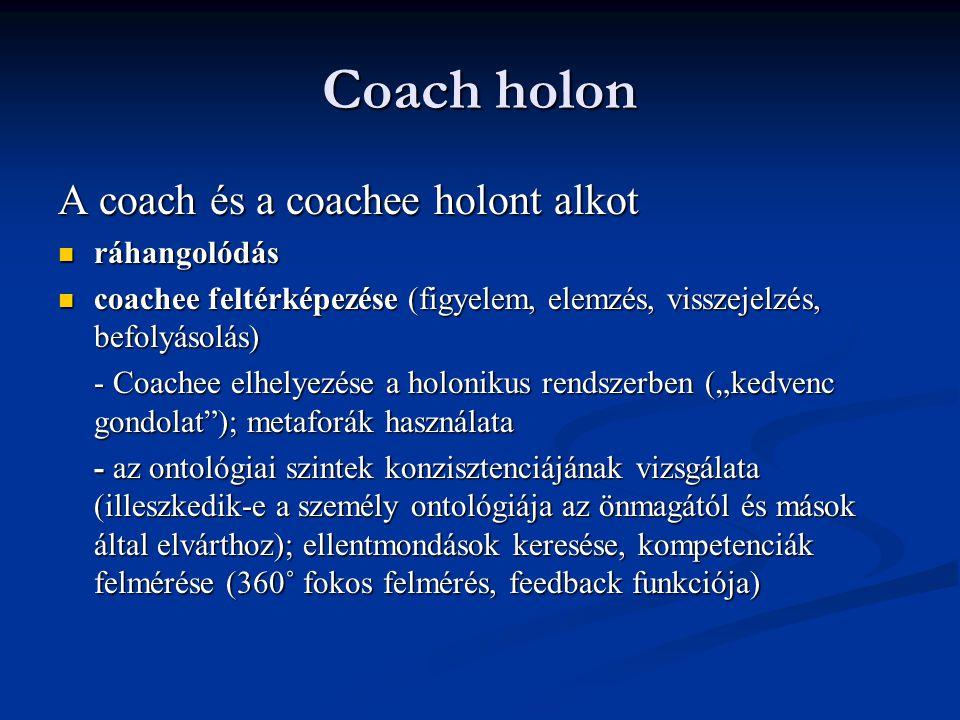 Coach holon A coach és a coachee holont alkot ráhangolódás