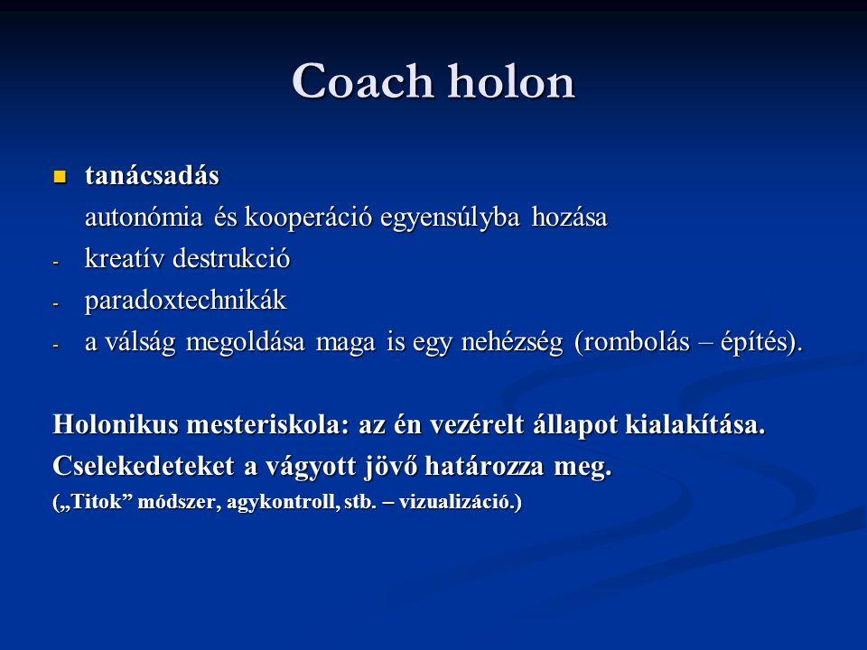 Coach holon tanácsadás autonómia és kooperáció egyensúlyba hozása