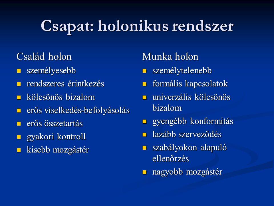 Csapat: holonikus rendszer