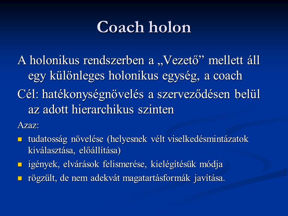 """Coach holon A holonikus rendszerben a """"Vezető mellett áll egy különleges holonikus egység, a coach."""